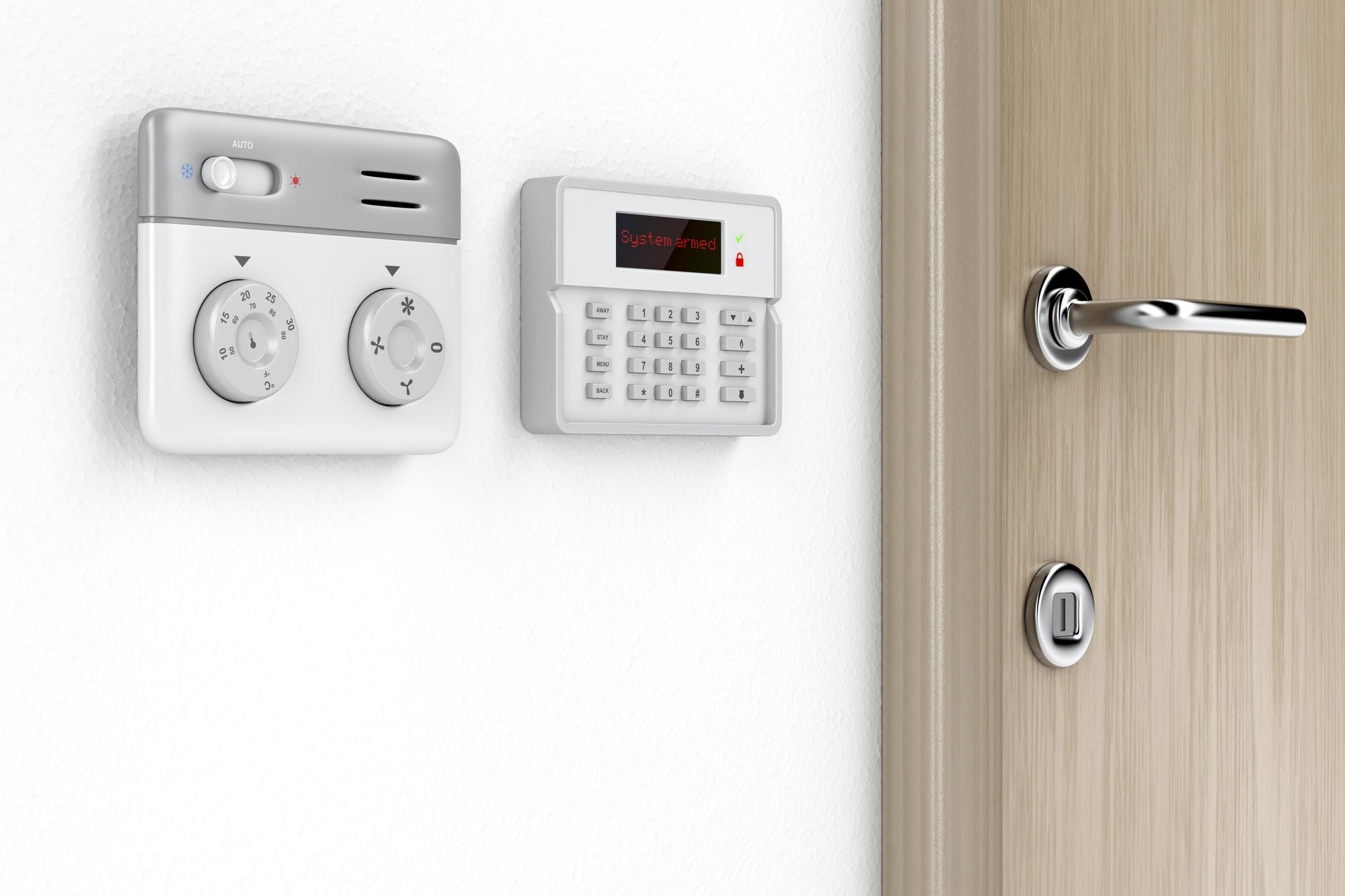 Paneles de control de alarma y temperatura ambiente